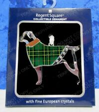Pet Dog Plaid Christmas Ornament Regent Square Chrome Green European Crystals