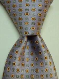 BRIONI Men's Silk XL Necktie ITALY Luxury Designer Geometric Purple/Orange GUC