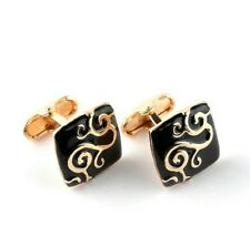 SALE Black Gold Square Carvings Cufflinks for Suit Shirt Business Wedding Formal