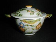 Cantagalli Italy Italian Faience Majolica Pottery Sugar Bowl w Lid -Rooster Mark