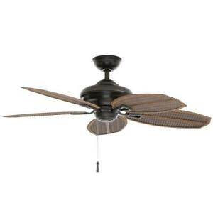 Ceiling Fan Natural Iron Reversible Motor Wet Rated Angled Mount 5-Blades Brown