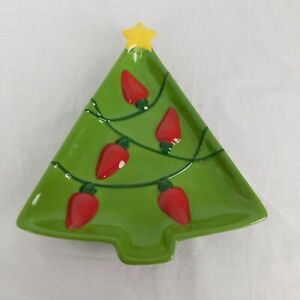 Hallmark Christmas Green Tree Holiday Candy Dish Small Serving Plate Red Lights