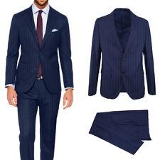 Abito Uomo Blu Gessato Vestito A Righe Completo Elegante Sartoriale Slim VEQUE