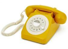 Gpo 746 amarillo mostaza, teléfono de escritorio de estilo de estilo retro y vintage con dial giratorio de trabajo