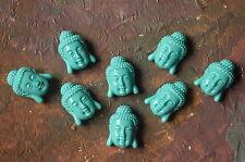 5 perles tête de Bouddha en corail synthétique, 15,5mm, bleu turquoise