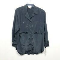 Che Studio Vintage 1980's Button Up Silky Blouse Top Shirt Black Womens Size M