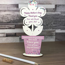 Mothers Day Gift For Mum Personalised Wooden Flower Mum Gift For Her Keepsake