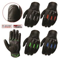 X-PRO Embossed Hard Knuckle Cowhide leather Biker Motorbike Motorcycle Gloves
