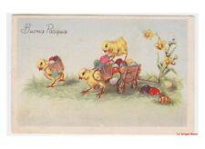 carte postale vintage Pâques poussins Humanisé transport œufs paques coloré