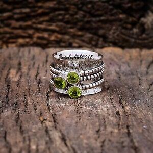 Peridot Spinner Ring 925 Sterling Silver Ring Meditation Ring All Size liii25