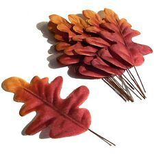 20 Artificial Autumn Oak Tree Leaves - Decorative Fabric Leaves - Red & Orange
