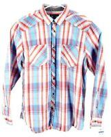 International Concepts Mens Button Front Shirt Pink Blue Plaid Pockets XL New