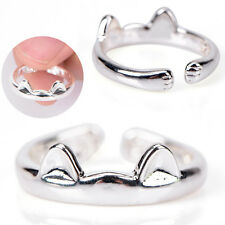 Women Cat Ear Claw Silver Ring Open Ring Adjustable Cute Animal FashionJewelry Z