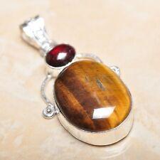 "Handmade Golden Tiger's Eye Gemstone 925 Sterling Silver Pendant 2.25"" #P14712"