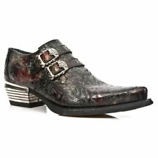 New Rock 7960-S5 Black Vintage Red Flower Leather Western Steel Paisley Shoes