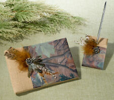 Camouflage Burlap And Feathers Wedding Guest Book And Pen Set