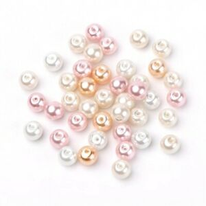 White/Champagne Acrylic Beads Plain Round 8mm Pearlised Pack Of 100