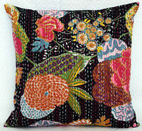 INDIAN COTTON PILLOW CASE SHAM HAND EMBROIDERED KANTHA CUSHION COVER BLACK THROW