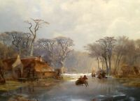"""No framed oil painting villagers skaters on ice in winter landscape canvas 36"""""""