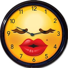 Emoji Emoticon Wall Clock Mood Woman Girl lips Female New 10""