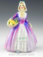 """Vintage Royal Doulton England 4-1/8"""" Figurines M 75 JANET GIRL WITH FLOWERS Mint"""