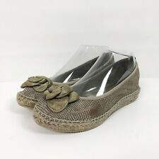 Andre Assous Cleo Grey Leather Espadrilles Flats Size 7 Slip On Spain