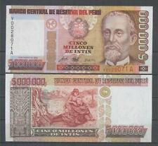 PERU 5 Millions Intis 1990 Letter *Y* REPLACEMENT P 149 A/UNC