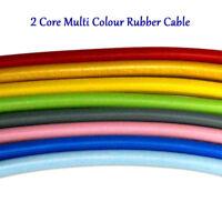 Vintage Rubber Cable 2 core 0.75mm Flexible PCV Wire Cable Multi Colour Flex UK