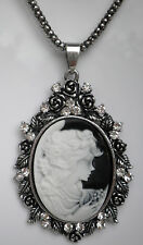 """Large Black faux cameo with clear glass silver tone 30"""" 76cm chain necklace"""
