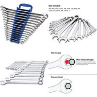 Max Torque 15-Piece Premium Combination Wrench Set, Complete SAE Inch Sizes from