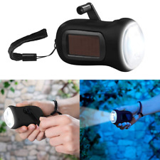 Solar Powered Wind-up Hand Crank Dynamo Rechargeable LED Torch Flashlight Light