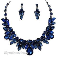 Sapphire Navy Blue Crystal Elegant Necklace Set Wedding Pageant or Prom Jewelry