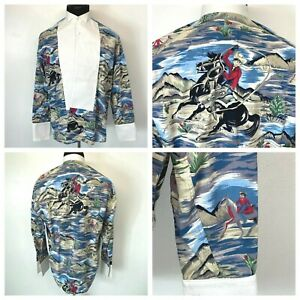 Neiman Marcus Tuxedo Shirt 15.5 34 Cowboy Horse Graphic Western Theme Lasso S9