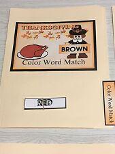Thanksgiving -  File Folder Game  - Activity Set - Color Words Match