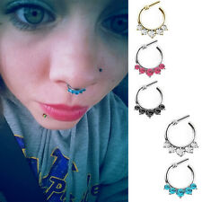 Women Crystal Septum Clicker Hanger Nose Ring Non Piercing Body Jewelry LO