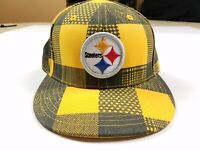 Pittsburgh Steelers NFL Reebok Team Apparel Black Gold Plaid Fitted Hat 7 1/8