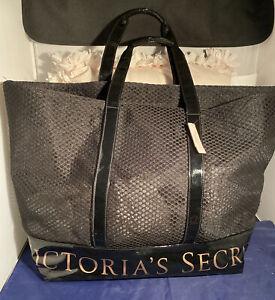 Victoria Secret Weekender Tote Bag Black Gold Shoulder Bag Retail $78.00 NWT XL