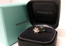 Tiffany & Co Flower Ring Diamond Platinum PT950 Buttercup Band Solitaire Accent