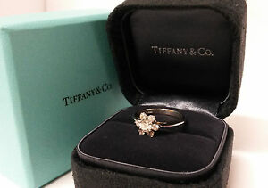 Tiffany & Co Ring Anniversary Diamond Flower Buttercup Platinum PT950 Jewelry