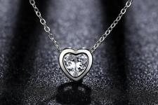 Elegant 925 Sterling Silver 1. Ct Cubic Zirconia Love *Heart* Pendant Necklace