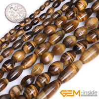 """Natural Tiger's eye Gemstone Olivary Rice Beads For Jewelry Making Strand 15"""""""