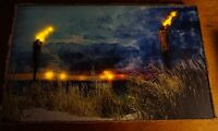 LIGHTED FLICKER FLAME TIKI TORCH Sunset Beach Hawaii Canvas Home Decor Sign NEW