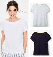 Ladies Womens Boden Thelma Embroidered Summer Cotton White Navy T-shirt Top NEW