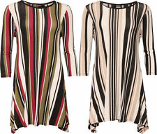 3/4 Sleeve Machine Washable Striped Plus Size Tops & Blouses for Women
