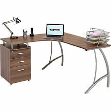 Home Office Corner Laptop Table w Drawers Piranha Furniture Walnut Effect PC 28w