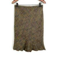 Elevenses Womens Pencil Skirt Green Tweed Ruffle Back Zip Lined Acrylic Blend 4
