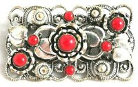 Red Glass Czech Floral Brooch Vintage Pin Silver Tone Leaves Flowers Bohemian