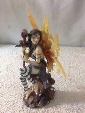 Beautiful Fairy Figurine Sitting on a Mushroom Holding a Staff Approx 6' Tall