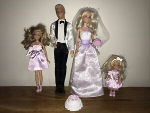 Barbie Doll Wedding Set Of 4 Figures With Accessories