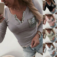 Long Tee Women Top V-Neck Pocket Slim Sleeve Shirts Casual Blouse Sequin T-Shirt